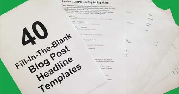 40 Blog Post Headline Templates